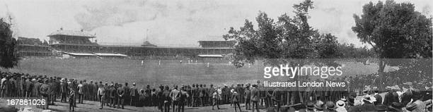 England play Australia on the first day of the second Ashes Test at Melbourne Cricket Ground, Melbourne, Australia, 1st January 1898. Australia won...
