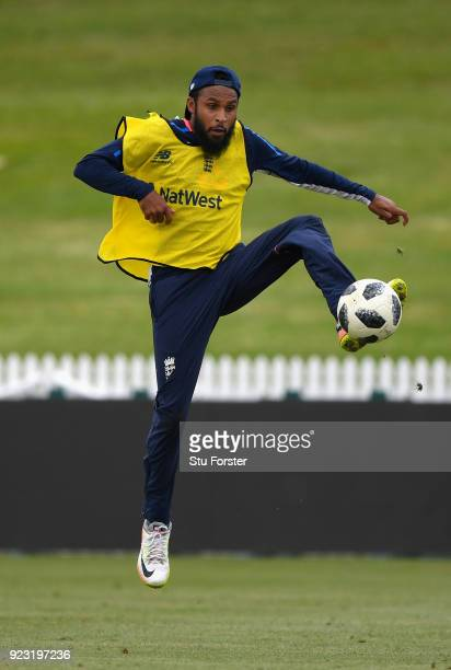 England player Adil Rashid in action during an England training session ahead of the First ODI v New Zealand Black Caps at Seddon Park on February 23...