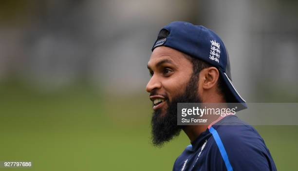 England player Adil Rashid raises a smile during an England training session ahead of the 4th ODI v New Zealand Black Caps at Oval on March 6 2018 in...