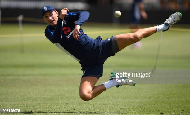 England player Alex Hales in action during a fielding drill during an England training session ahead of the First ODI v New Zealand Black Caps at...