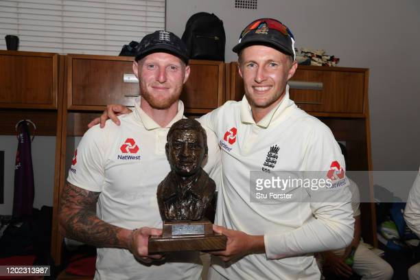 England player Ben Stokes and captain Joe Root pictured in the dressing room after Day Four of the Fourth Test between South Africa and England at...
