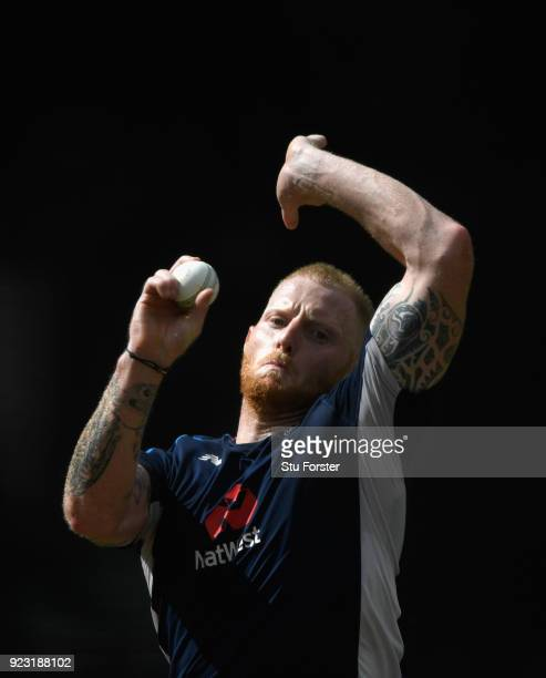 England player Ben Stokes bowls in the nets during an England training session ahead of the First ODI v New Zealand Black Caps at Seddon Park on...