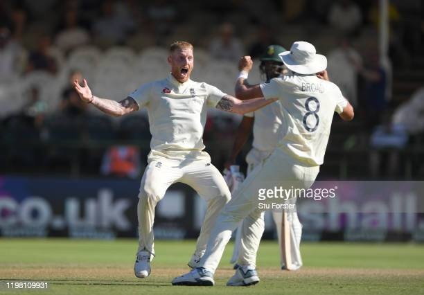 England player Ben Stokes celebrates the wicket of Anrich Nortje with team mates during Day Five of the Second Test between South Africa and England...