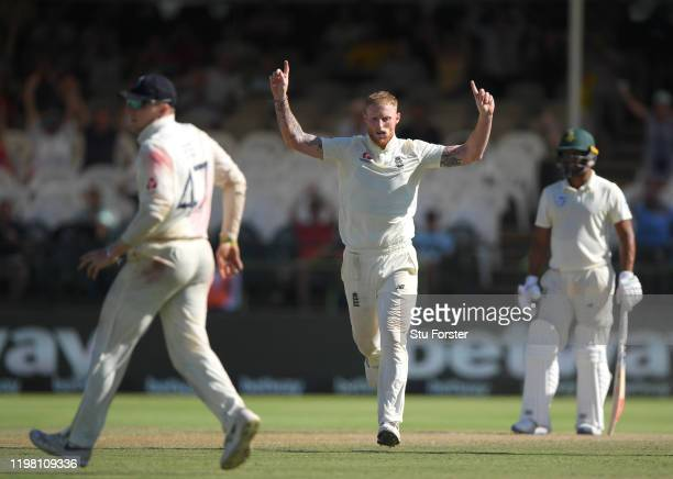 England player Ben Stokes celebrates the wicket of Dwaine Pretorius during Day Five of the Second Test between South Africa and England at Newlands...