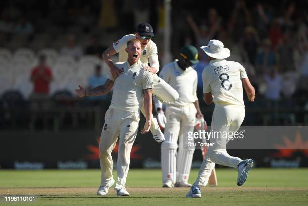 England player Ben Stokes celebrates the wicket of Philander to win the match for England during Day Five of the Second Test between South Africa and...