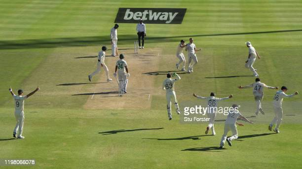 England player Ben Stokes celebrates the wicket of Vernon Philander to win the match for England during Day Five of the Second Test between South...
