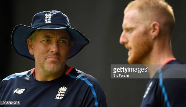 England player Ben Stokes chats with fast bowling coach Chris Silverwood in the nets during an England training session ahead of the First ODI v New...