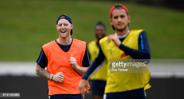 England player Ben Stokes enjoys a joke with team mates during England Cricket nets at Seddon park ahead of their T2O match against New Zealand Black...