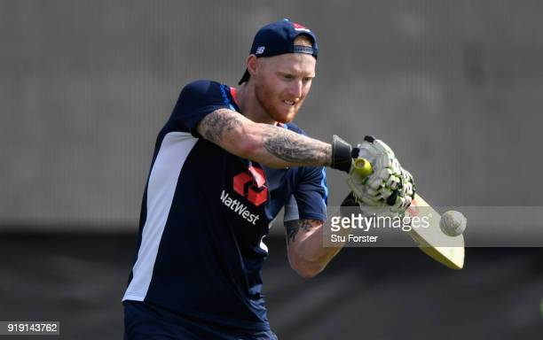 England player Ben Stokes gives his team mates some fielding practice during England Cricket nets at Seddon park ahead of their T2O match against New...