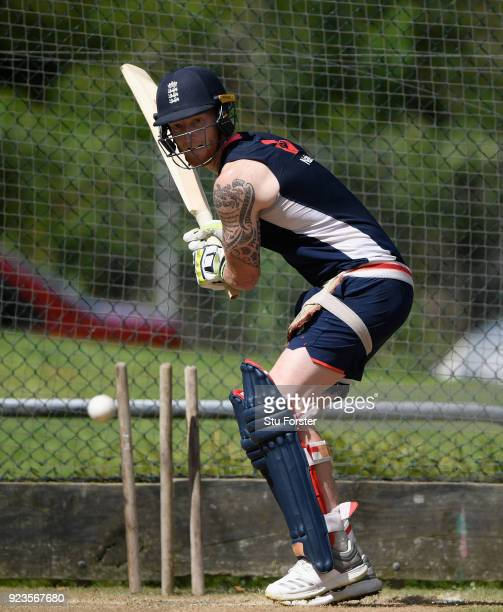 England player Ben Stokes has a go batting right handed during England nets ahead of the 1st ODI against the Black Caps at Seddon Park on February 24...