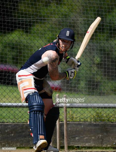 England player Ben Stokes in action during nets ahead of the 1st ODI at Seddon Park on February 24 2018 in Hamilton New Zealand