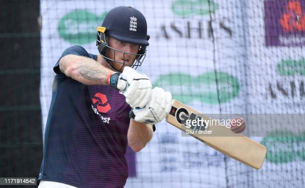 England player Ben Stokes in batting action during England nets ahead of the 4th Test match at Emirates Old Trafford on September 03, 2019 in...