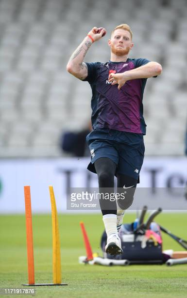England player Ben Stokes in bowling action during England nets ahead of the 4th Test match at Emirates Old Trafford on September 03, 2019 in...