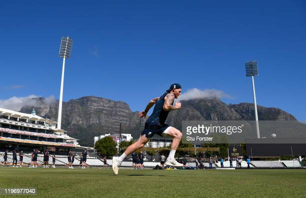 England player Ben Stokes in sprinting action in the shadow of Table Mountain during England training at Newlands ahead of the 2nd Test Match between...