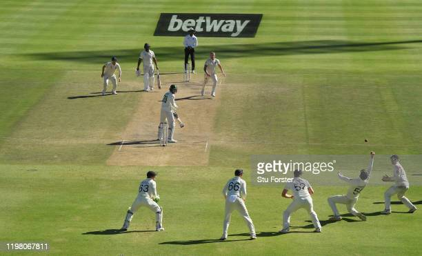 England player Ben Stokes looks on as Anrich Nortje is caught at slip at the second attempt by Zac Crawley during Day Five of the Second Test between...