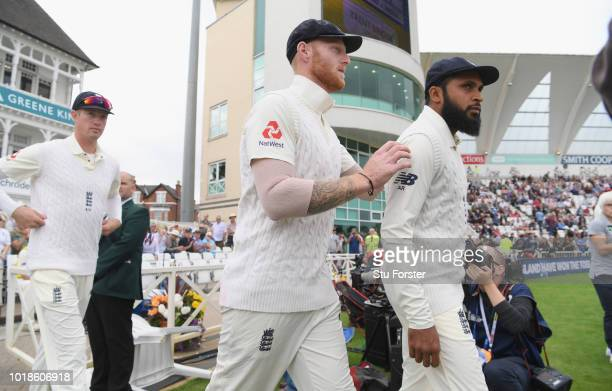 England player Ben Stokes pictured entering the field with Adil Rashid before day one of the 3rd Specsavers Test Match between England and India at...