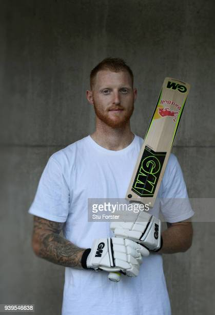 England player Ben Stokes pictured with his new Gunn Moore bat after Joining Team GM ahead of the second test match against the New Zealand Black...