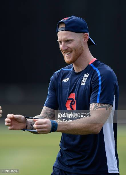 England player Ben Stokes shares a joke during England Cricket nets at Seddon park ahead of their T2O match against New Zealand Black Caps on...