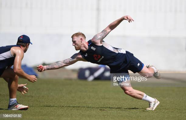 England player Ben Stokes takes a one handed catch during slip fielding practice during England Nets ahead of the 3rd Test Match at the SSC cricket...