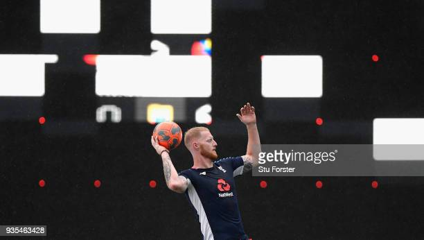 England player Ben Stokes takes a throw in during a game of Football in the rain during England nets ahead of the 1st Test Match against the New...