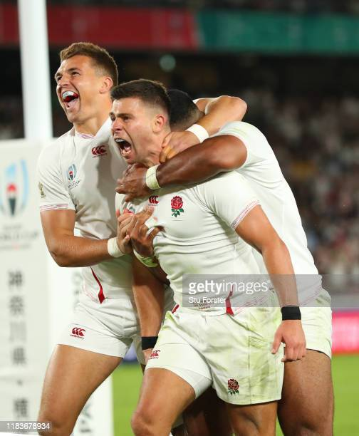 England player Ben Youngs celebrates his try with Henry Slade and Manu Tuilagi which is later disallowed during the Rugby World Cup 2019 Semi-Final...