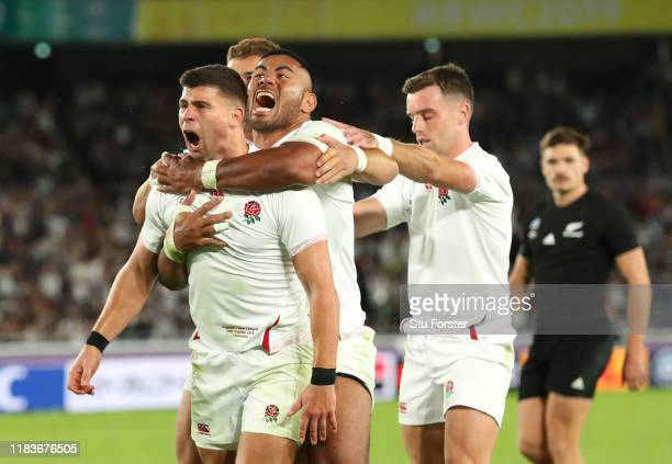 England player Ben Youngs celebrates his try with Manu Tuilagi and George Ford which is later disallowed during the Rugby World Cup 2019 SemiFinal...