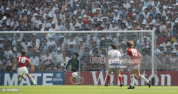 England player Bryan Robson scores past goalkeeper JeanLuc Ettori to put England ahead after just 27 seconds during their opening 1982 FIFA World Cup...