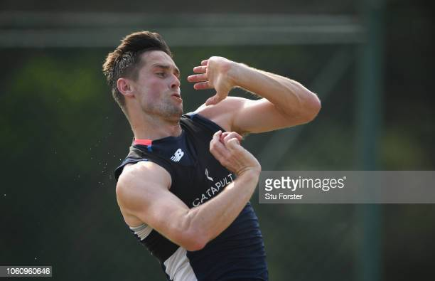 England player Chris Woakes in action during England nets ahead of the 2nd Test Match at Pallekelle Stadium on November 13 2018 in Kandy Sri Lanka