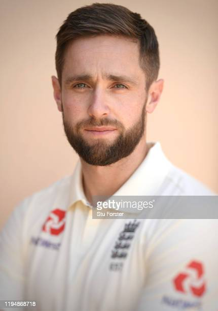 England player Chris Woakes poses for a portrait during England nets at Willowmoore Park during the England Media Access on December 16, 2019 in...