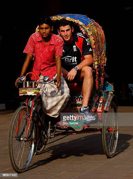 England player Craig Kieswetter who has joined up with the team from the England Lions in Dubai gets a ride in a Rickshaw at the Pan Pacific hotel on...