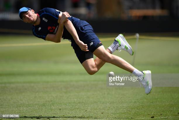 England player Craig Overton in action during a fielding drill during an England training session ahead of the First ODI v New Zealand Black Caps at...