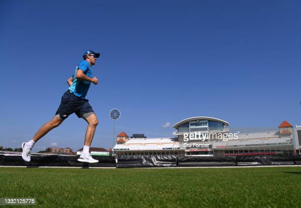 England player Craig Overton in running action during England nets ahead of the First Test match against India at Trent Bridge on August 03, 2021 in...