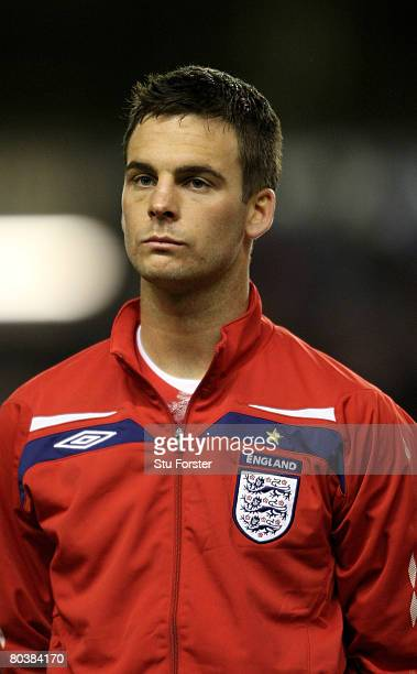 England player Daniel Fox looks on during the national anthem the Under21 International Friendly between England and Poland at Molineux on March 25...