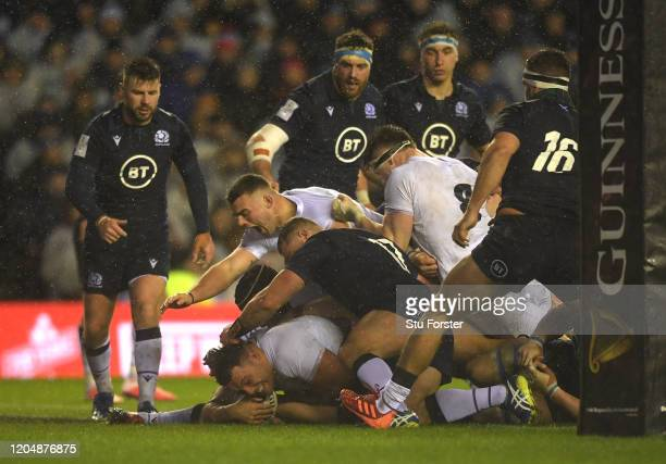 England player Ellis Genge goes over for the games only try during the 2020 Guinness Six Nations match between Scotland and England at Murrayfield on...