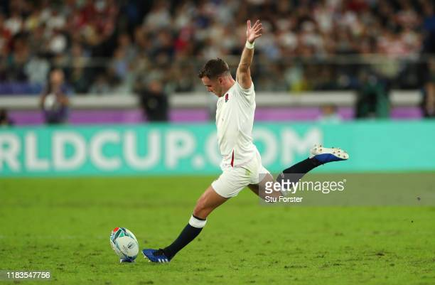 England player George Ford kicks a penalty during the Rugby World Cup 2019 Semi-Final match between England and New Zealand at International Stadium...