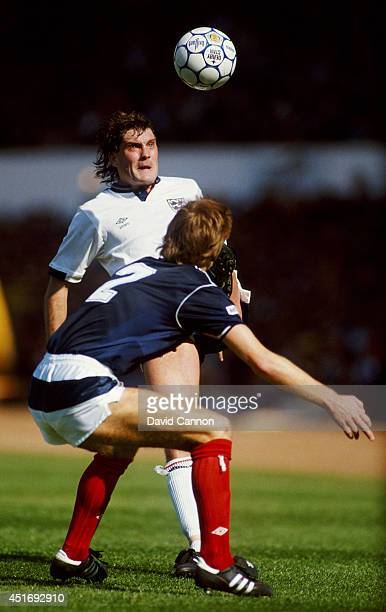 England player Glenn Hoddle in action during the Rous Cup match between Scotland and England at Hampden Park on May 23 1987 in Glasgow Scotland