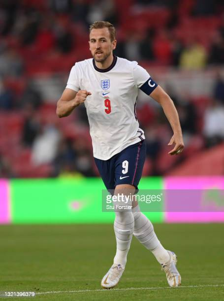 England player Harry Kane in action during the international friendly match between England and Austria at Riverside Stadium on June 02, 2021 in...