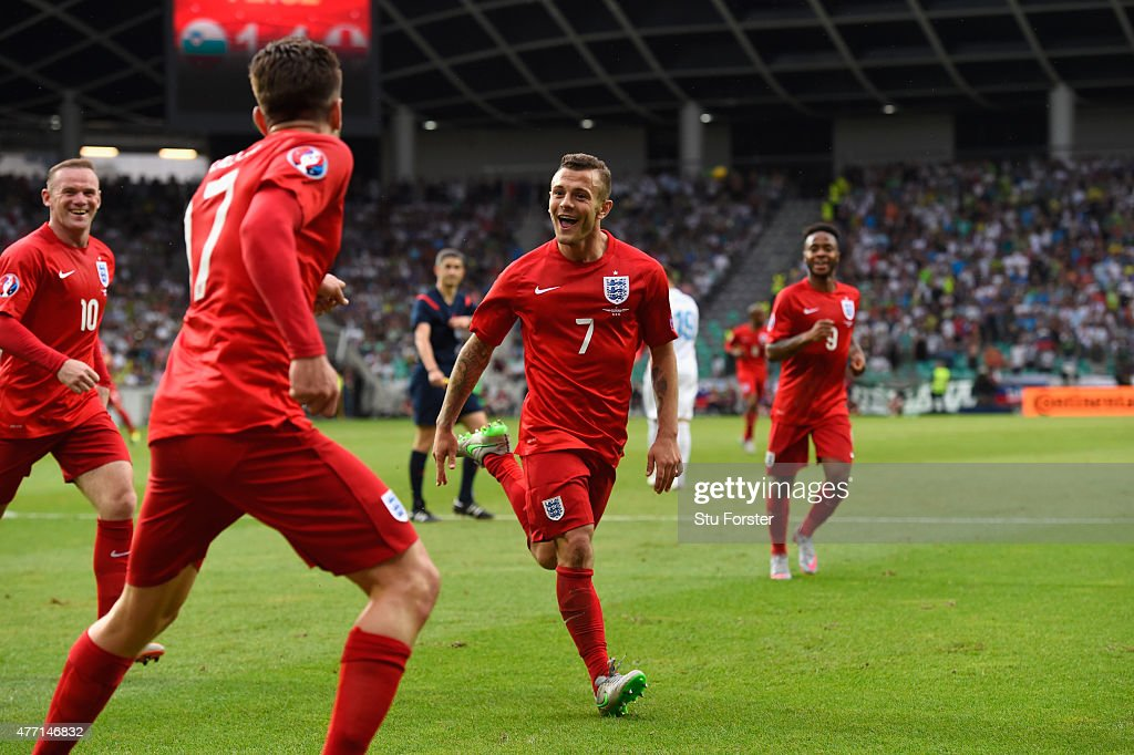 England player Jack Wilshere (c) celebrates his second goal during the UEFA EURO 2016 Qualifier between Slovenia and England on at the Stozice Arena on June 14, 2015 in Ljubljana, Slovenia.