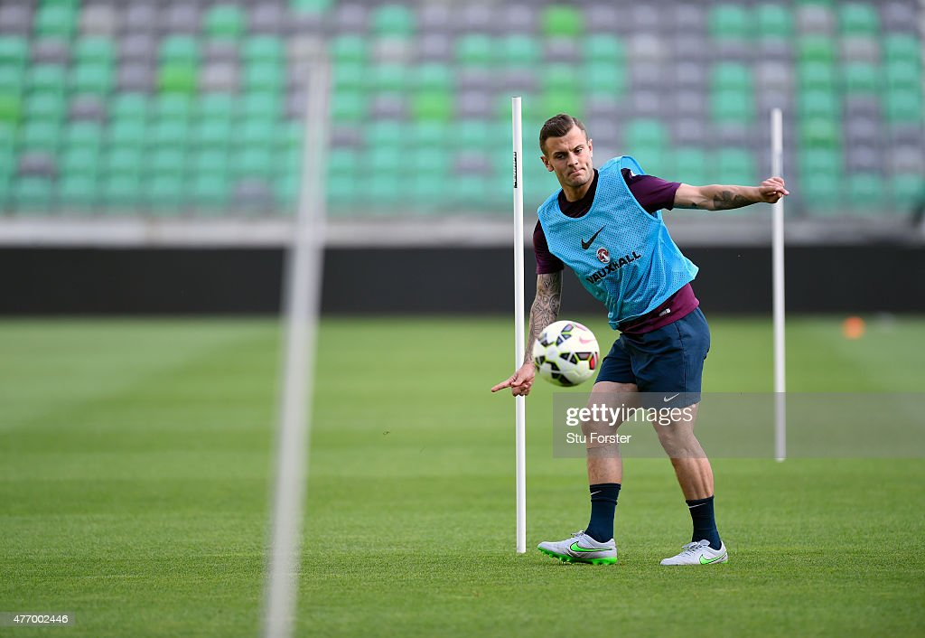 England player Jack Wilshere in action during England Training and Press Conference prior to sunday's UEFA EURO 2016 Qualifier between Slovenia and England at Stozice on June 13, 2015 in Ljubljana, Slovenia.