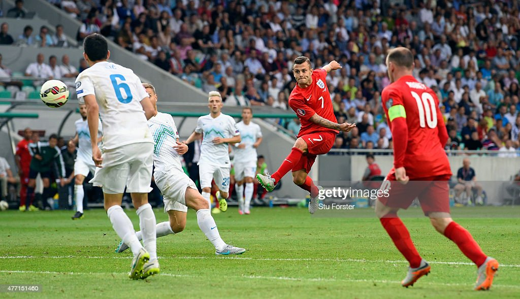 England player Jack Wilshere scores the second England goal during the UEFA EURO 2016 Qualifier between Slovenia and England on at the Stozice Arena on June 14, 2015 in Ljubljana, Slovenia.