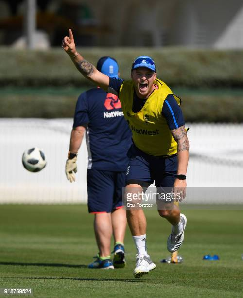 England player Jason Roy celebrates a goal during a game of football during England cricket nets at Seddon park on February 16 2018 in Hamilton New...