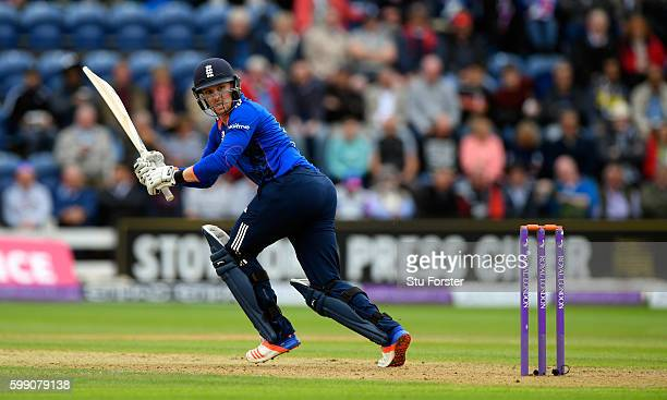 England player Jason Roy hits a boundary during the 5th One Day International between England and Pakistan at Swalec Stadium on September 4 2016 in...