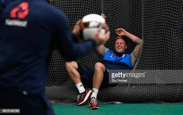 England player Jason Roy reacts during a game of Football during nets at the Swalec Stadium ahead of the ICC Champions Trophy match between England...
