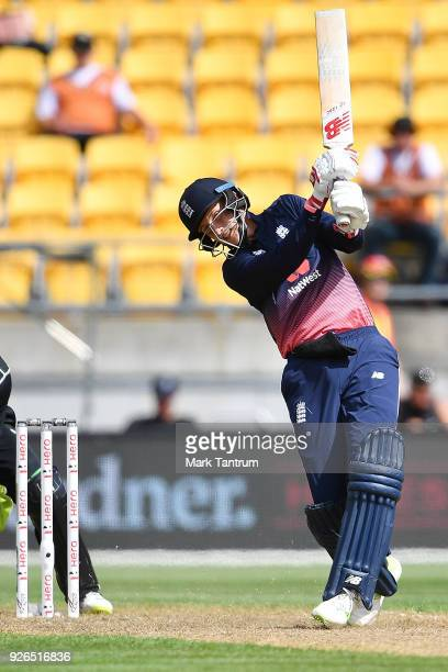 England player Joe Root during game three of the One Day International series between New Zealand and England at Westpac Stadium on March 3 2018 in...