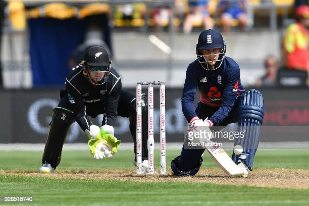 England player Joe Root gets a boundary from an unorthodox play during game three of the One Day International series between New Zealand and England...