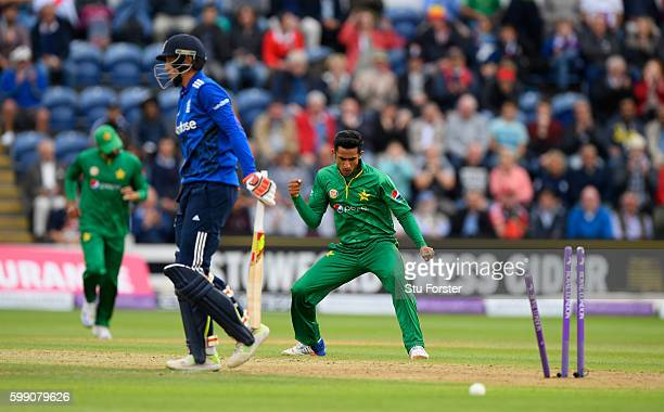 England player Joe Root is dismissed by Pakistan bowler Hasan Ali during the 5th One Day International between England and Pakistan at Swalec Stadium...