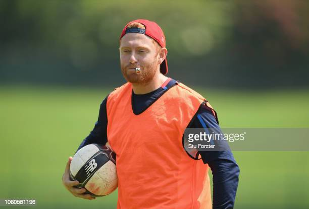 England player Jonathan Bairstow in referee action during the football match during England nets at Pallekelle Stadium on November 12 2018 in Kandy...