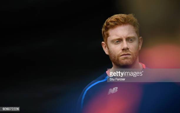 England player Jonny Bairstow looks on during nets ahead of the 3rd ODI at Basin Reserve on March 3 2018 in Wellington New Zealand