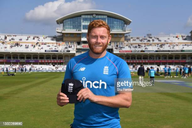 England player Jonny Bairstow pictured with his 75 Test Cap during day one of the First Test Match between England nd India at Trent Bridge on August...