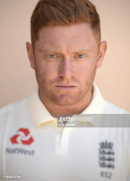England player Jonny Bairstow poses for a portrait during England nets at Willowmoore Park during the England Media Access on December 16, 2019 in...